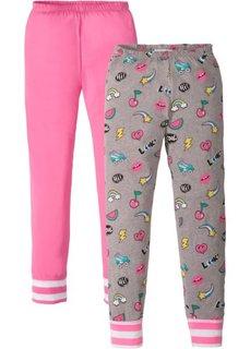 Брюки к пижаме (2 изд.) (ярко-розовый фламинго/серый меланж с принтом) Bonprix