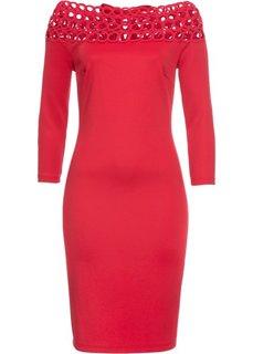 Платье с вырезом-кармен (красный) Bonprix