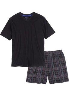 Пижама с шортами (черный в клетку) Bonprix