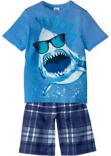Пижама с шортами (2 изд.) (синий жемчуг/ледниковый синий с принтом) Bonprix