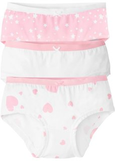 Трусики-панти (3 шт.) (розовая пудра/белый) Bonprix