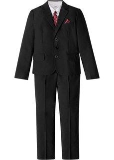 Костюм + рубашка + галстук (4 изд.) (черный/белый) Bonprix