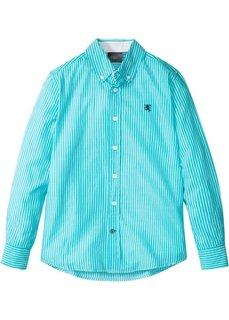Рубашка с длинным рукавом в полоску (бирюзовый/белый в полоску) Bonprix