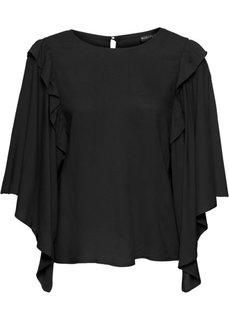 Блузка с широкими рукавами-воланами (черный) Bonprix