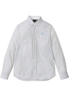Рубашка с длинным рукавом в полоску (серебристый матовый/белый в полоску) Bonprix