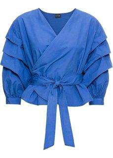 Блузка с эффектом запаха (синий) Bonprix
