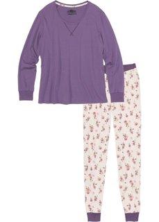 Пижама из органического хлопка (темно-сиреневый с рисунком) Bonprix
