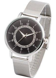 Часы на сетчатом браслете (серебристый/черный) Bonprix