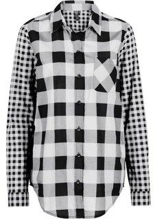 Рубашка в клетку (черный/кремовый в клетку) Bonprix