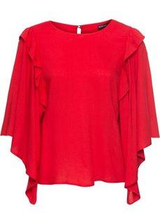 Блузка с широкими рукавами-воланами (красный) Bonprix