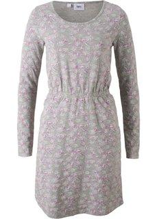 Платье с длинным рукавом (светло-серый меланж с рисунком) Bonprix