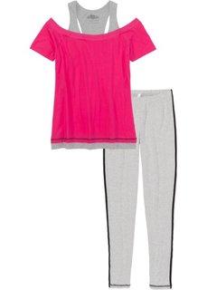 Пижама с легинсами (светло-серый меланж/ярко-розовый) Bonprix