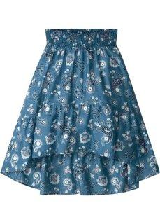 Юбка с воланами (синий джинсовый в цветочек) Bonprix