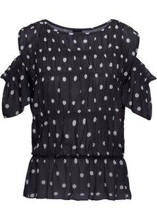 Блузка с вырезами (черный/белый в горошек) Bonprix