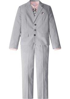 Костюм + рубашка + галстук (4 изд.) (дымчато-серый/белый в полоску + розовый) Bonprix