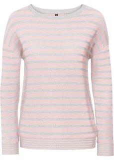 Пуловер вязаный (светло-серый меланж/нежно-розовый) Bonprix