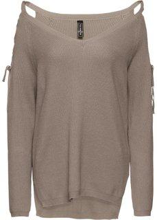 Пуловер с вырезами (серо-коричневый) Bonprix