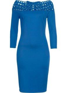Платье с вырезом-кармен (синий) Bonprix