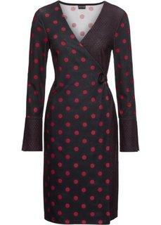 Платье с эффектом запаха (черный/красный в горошек) Bonprix