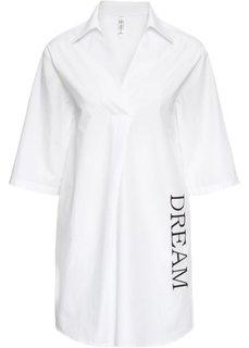 Платье-рубашка с принтом (белый) Bonprix