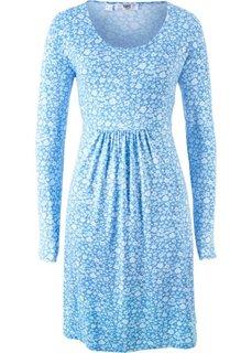 Платье с длинным рукавом (голубой в цветочек) Bonprix