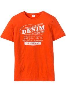 Футболка Regular Fit с принтом (оранжевый) Bonprix