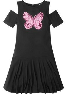 Платье с пайетками и вырезами в области плеч (черный) Bonprix