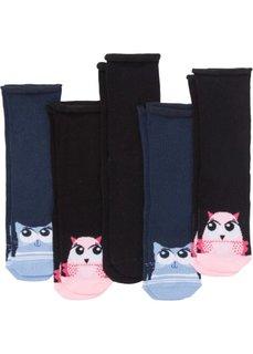 Носки женские с изображением животных (5 пар) (черный/темно-синий) Bonprix