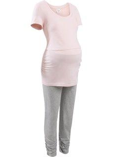 Пижама для кормящих мам (нежно-розовый/серый) Bonprix