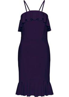Платье с воланами (темно-синий) Bonprix