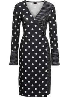 Платье с эффектом запаха (черный/бежевый в горошек) Bonprix