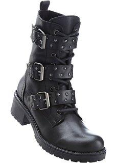 Ботинки из кожи (черный) Bonprix