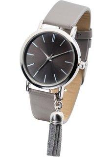 Часы наручные с кисточкой (серый/серебристый) Bonprix