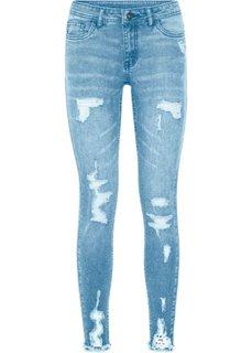 Джинсы Super Skinny с декоративными повреждениями (нежно-голубой) Bonprix