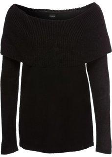 Пуловер с открытыми плечами (черный) Bonprix