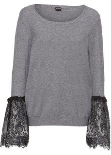 Пуловер с кружевной отделкой рукавов (серый меланж) Bonprix