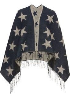 Пончо со звездным принтом (темно-синий/бежевый) Bonprix