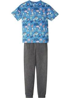 Пижама с заниженным шаговым швом (2 изд.) (небесно-голубой/антрацитовый меланж) Bonprix
