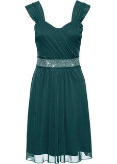 Коктейльное платье из сеточки и трикотажа (темно-зеленый) Bonprix