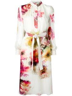 платье-рубашка с цветочным принтом Lanvin
