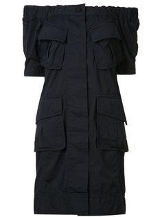 платье с открытыми плечами с рюшами Sacai