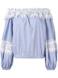 полосатая блузка с отделкой из кружева Forte Couture
