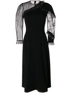 асимметричное платье с кружевными рукавами  Christopher Kane