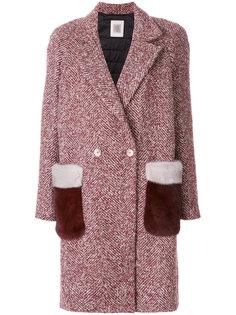 пальто с норковой отделкой на карманах  Eleventy