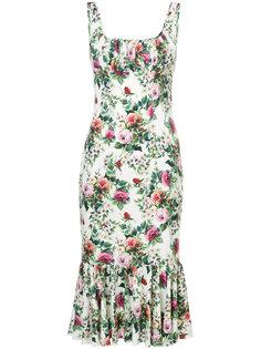 платье с принтом роз Dolce & Gabbana