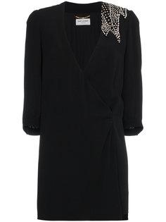 платье мини с V-образным вырезом и запахом  Saint Laurent