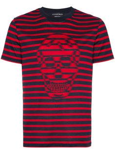 футболка в полоску с черепом Alexander McQueen