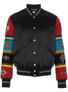 куртка-бомбер с вышивкой на рукавах Saint Laurent