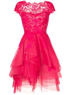 расклешенное платье с кружевом Monique Lhuillier