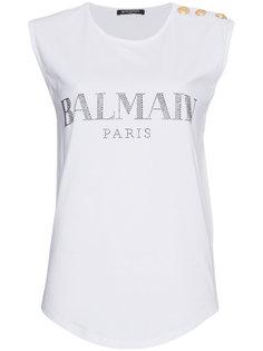 футболка без рукавов с логотипом  Balmain